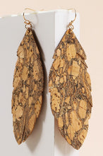 Granite Leaf Cork Dangling Earrings