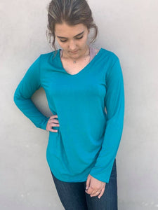 Crazy Train Teal BUTTER BASIC Long Sleeve Top