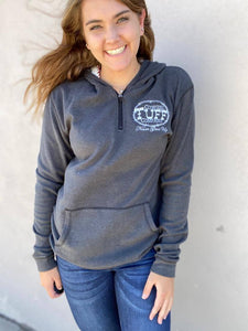 Cowgirl Tuff Charcoal Fleece Sweater with Aztec Lined Hood