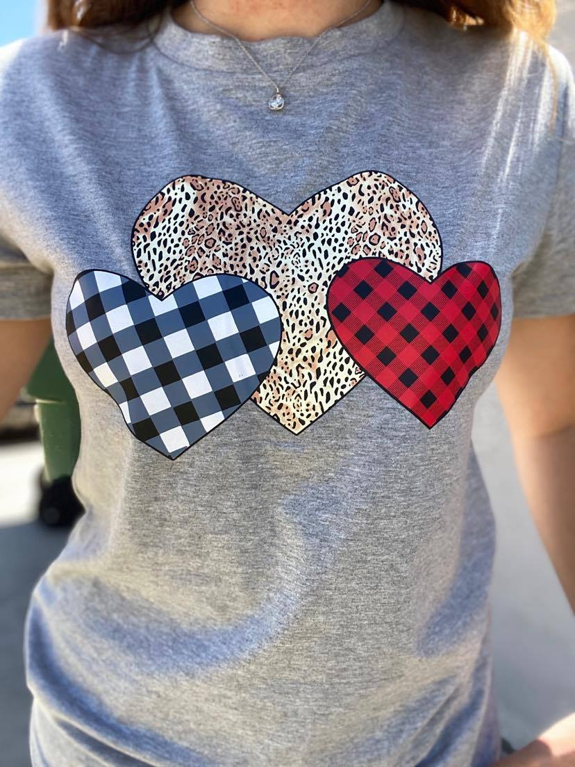 Valentine's Day Grey Plaid/Leopard Heart Tee