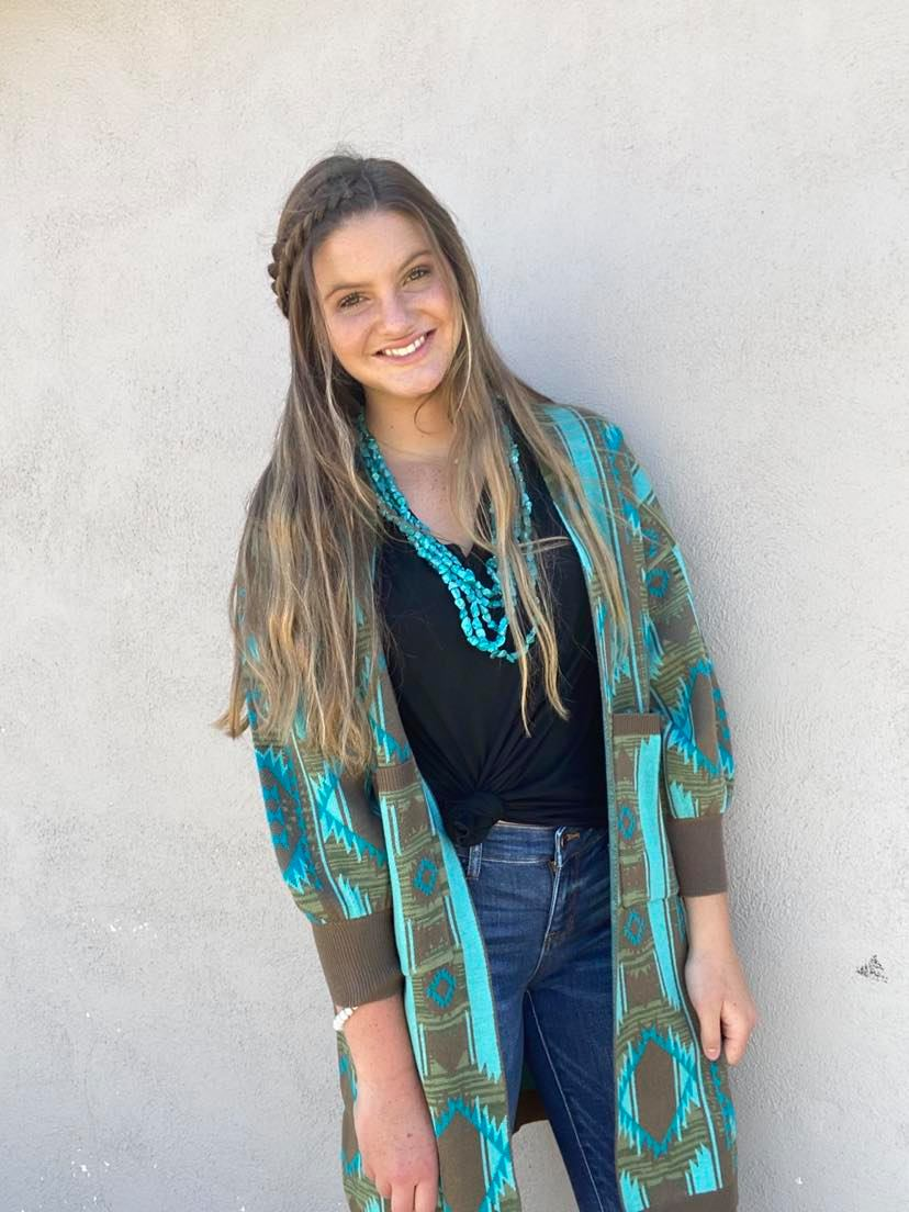 Crazy Train Ranch Boss Pocket Cardigan Brown/Turquoise