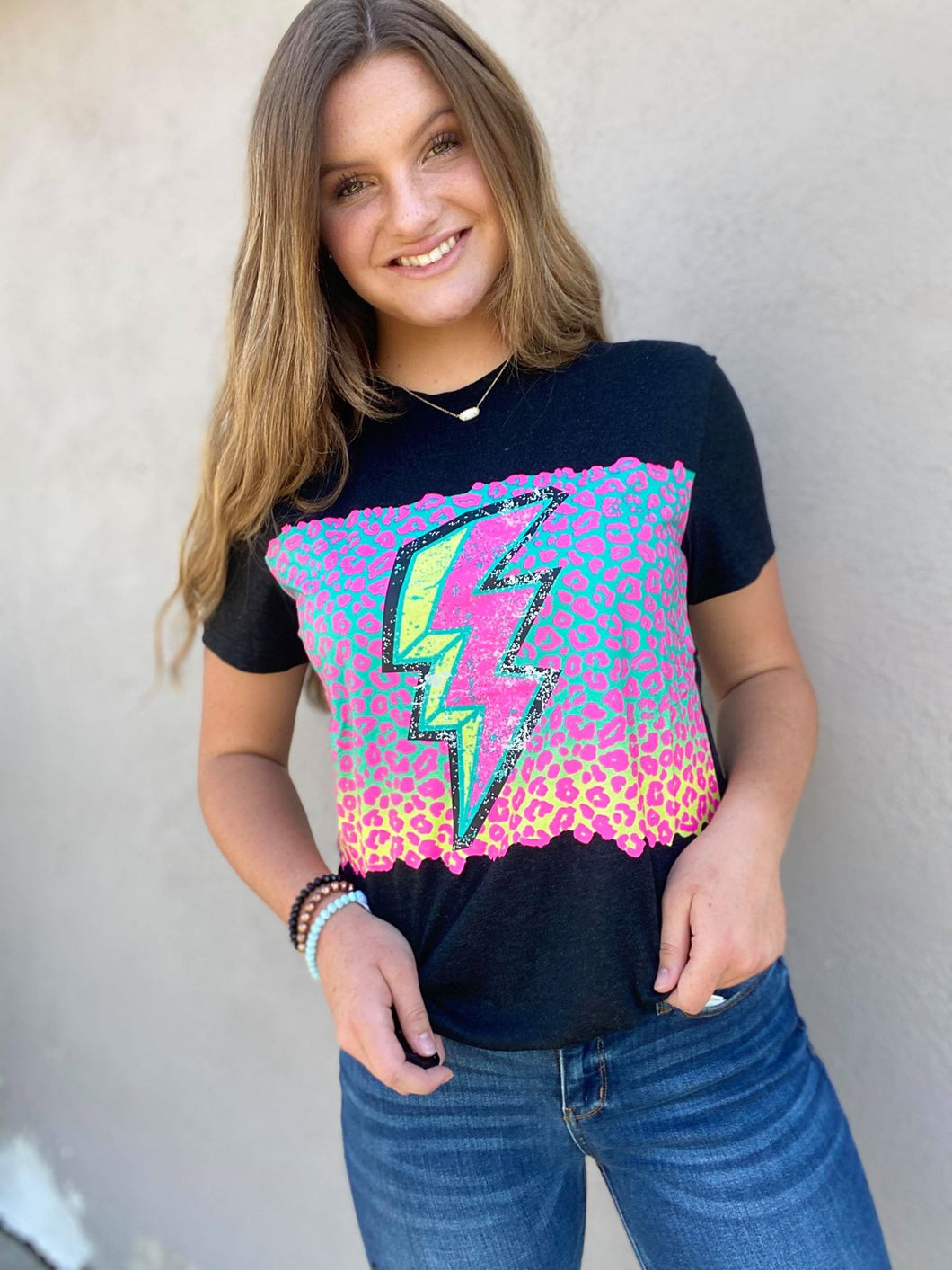Crazy Train Colorful Leopard Thunder Bolt Graphic Tee