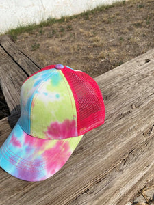 Blue, Green, and Pink Tie Dye Ball Cap Hat