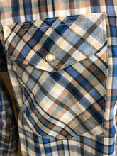 Wrangler Sport Blues and Browns Plaid Snap Shirt