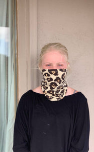 Leopard Print Face Shield, Mask or Headband