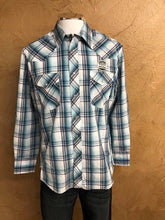 Wrangler Sport Light Blue With Red and Yellow Plaid Snap Shirt