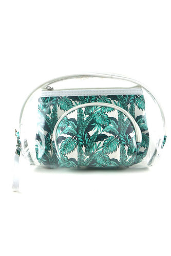 Tropical Leaves Cosmetic Bag Set