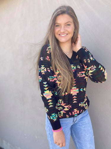 Crazy Train Badlands Aztec Serape Knit Pullover Sweater