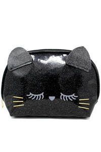 Black Glitter Cat Zipper Pouch