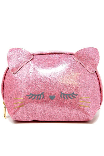 Pink Glitter Cat Zipper Pouch