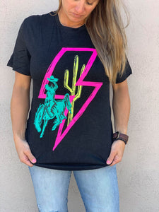 Crazy Train Buckin' Bronc Storm Bolt Graphic Tee