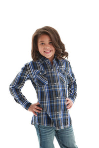 Cowgirl Tuff Girls dark blue/white plaid button up