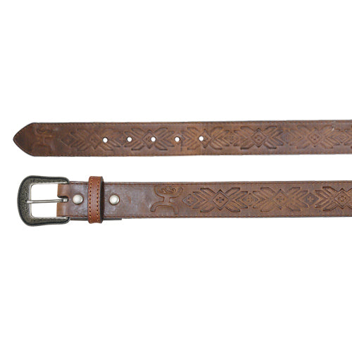 HOOey Men's Brown Deboss Aztec Belt