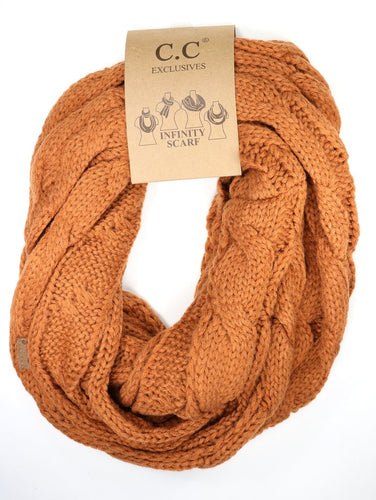 Solid Cable Knit CC Infinity Scarf-Rust