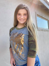 Cowgirl Tuff Grey and camo baseball raglan tee WITH CTC REVOLVER PRINT