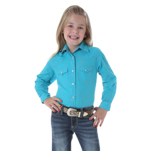 Girls' Rock 47® By Wrangler® Western Top- Turqouise with Pink Stitching