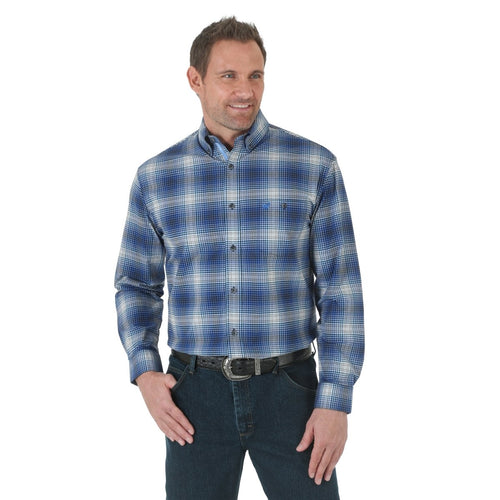 WRANGLER ADVANCED COMFORT BLUE AND BLACK PLAID WESTERN SHIRT