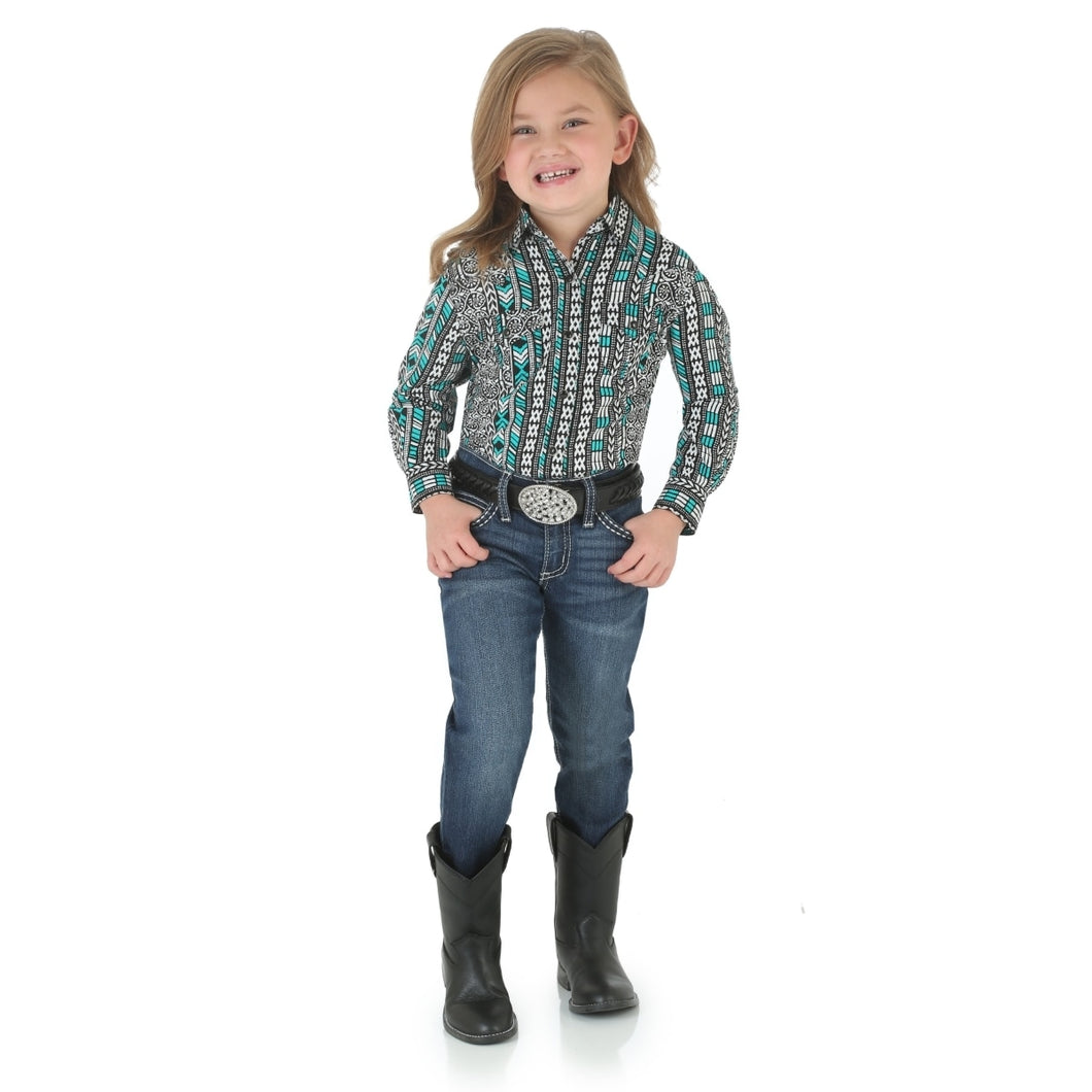 Wrangler Girls' Western Green/ Black Top