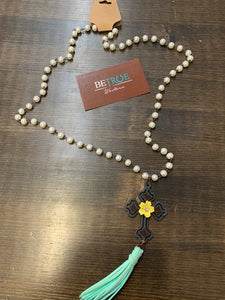Crazy Train Pearl and Tassel Cross Necklace