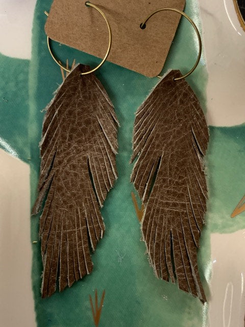 Genuine Leather Feather Earrings-Dust Storm