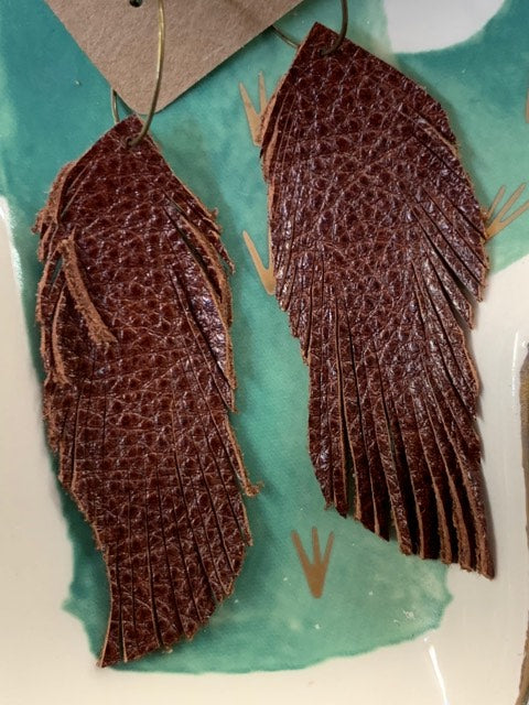 Genuine Leather Feather Earrings-Mahogany