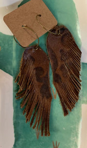 Genuine Leather Feather Earrings-Dark Stamped