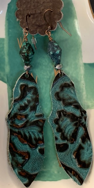 Genuine Leather Feather Earrings-Turquoise Beaded