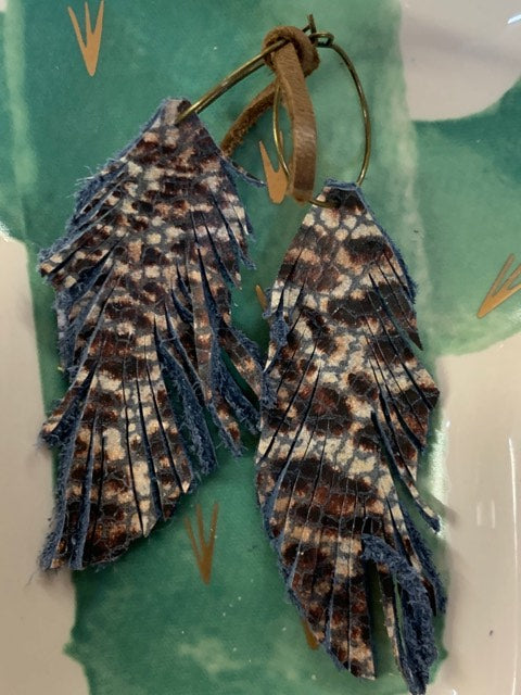 Genuine Leather Feather Earrings-Blue Leopard
