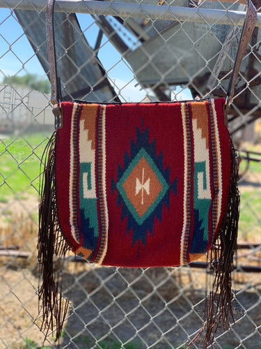 Maroon Large Fringe Saddleblanket Bag/Purse