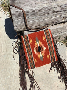 Rust Color Crossbody Fringe Saddleblanket Bag/Purse