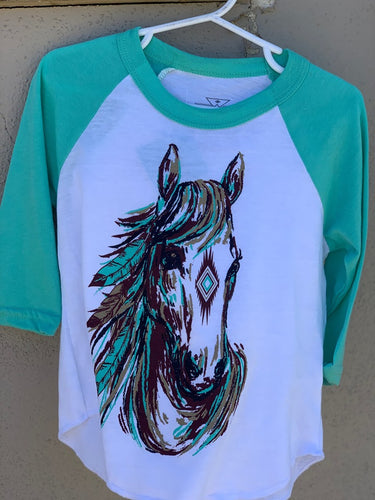 Crazy Train Kids Precious Pony/Horse Baseball Tee