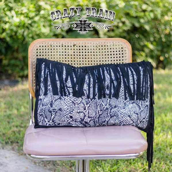 Crazy Train Fringed Python Pillow