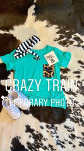 Crazy Train KIDS Party Pocket Turquoise-Leopard Knot Top