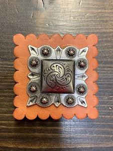 Square Leather Antique Silver Concho Pop Socket