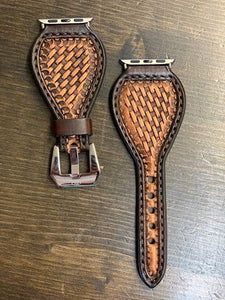 Leather Tear Drop Basket Weave Apple Watch Band