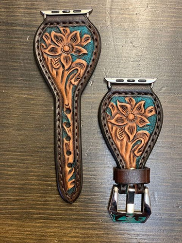 Leather Tear Drop Turquoise Background Flower Apple Watch Band