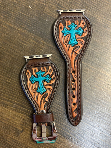 Leather Tear Drop Brown Background Turquoise Cross Apple Watch Band