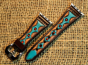 Leather Tapered Turquoise Diamond Apple Watch Band