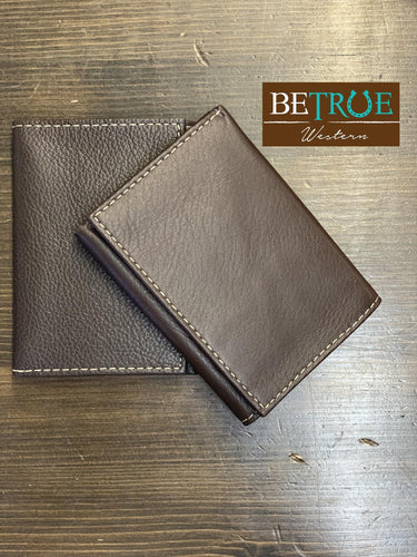 Men's Brown Leather Tri-Fold Wallet