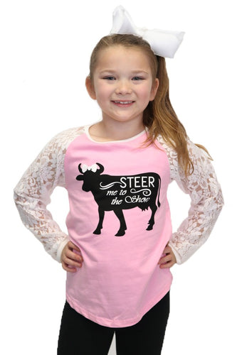 Steer Me To The Show Kids Lace top