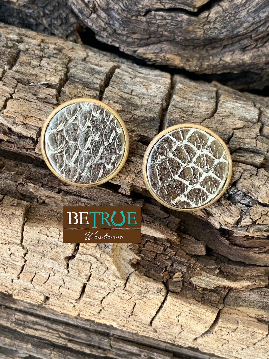 Gator Print Stud Earrings