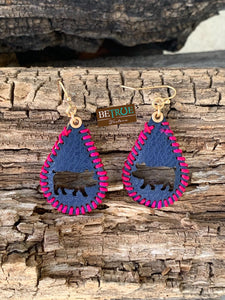 Navy Leather Pig Shape Hole Earrings