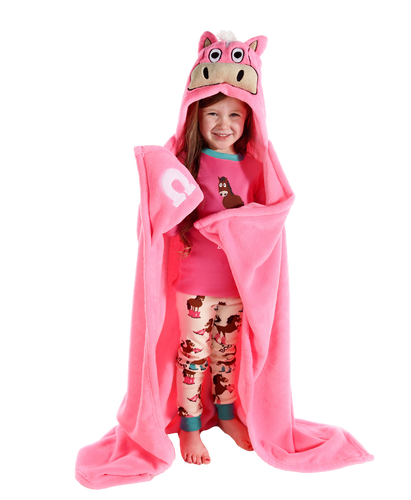 Pink Horse Critter Hooded Blanket by Lazy One