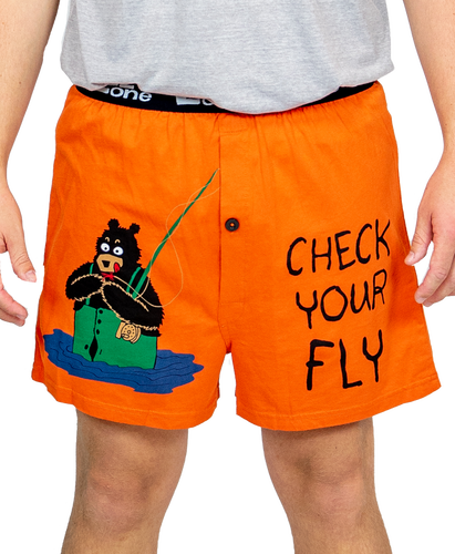 Lazy One Check Your Fly - Fishing | Men's Funny Boxer