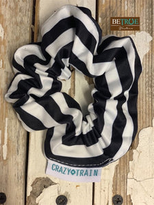 Crazy Train Black/White Strip Brady Scrunchie