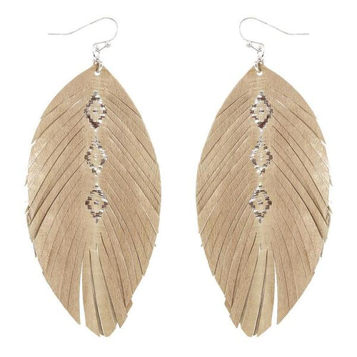 Cream Light Weight Feather Earrings with Gold Aztec Accent