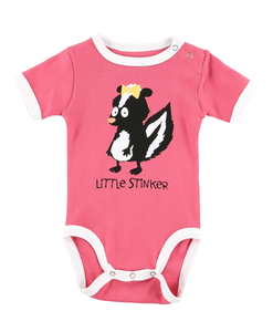 Little Stinker Skunk Pink Creeper Onesie by Lazy One