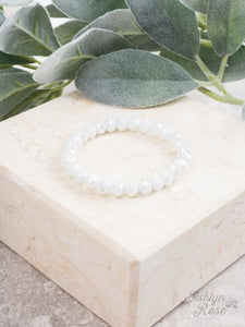 Iridescent White Stretch Bracelet