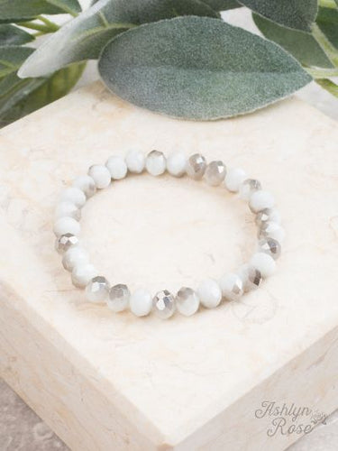 White and Grey Marble Stretch Bracelet