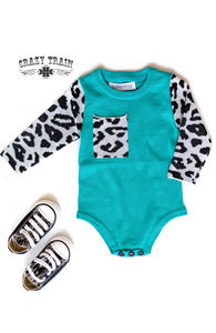 Crazy Train Frankly My Dear Turquoise and Leopard Knit Onesie